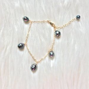 "Jewelry - 9"" Black Tahitian Pearl 14K Gold Chain Bracelet"